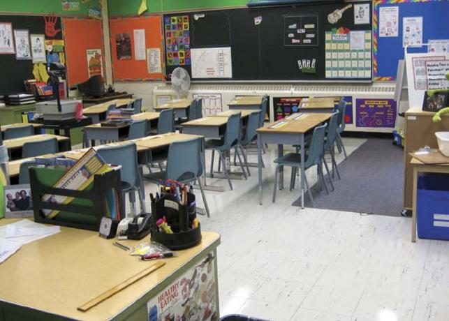 empty elementary classroom
