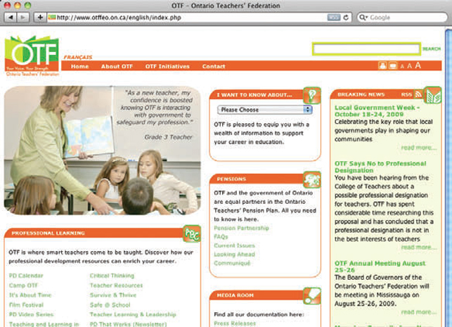image of internet browser with OTF website on screen