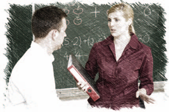 stock photo of two teachers talking in front of blackboard with a chalkboard effect applied to it