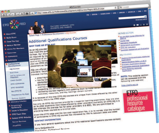 image of internet browser with a photo of etfo members working on laptops enlarged