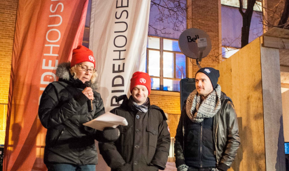 Three ETFO Members speaking in microphone outside in the winter
