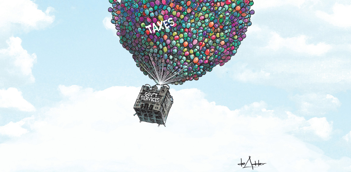 Drawing of house being carried away by balloons