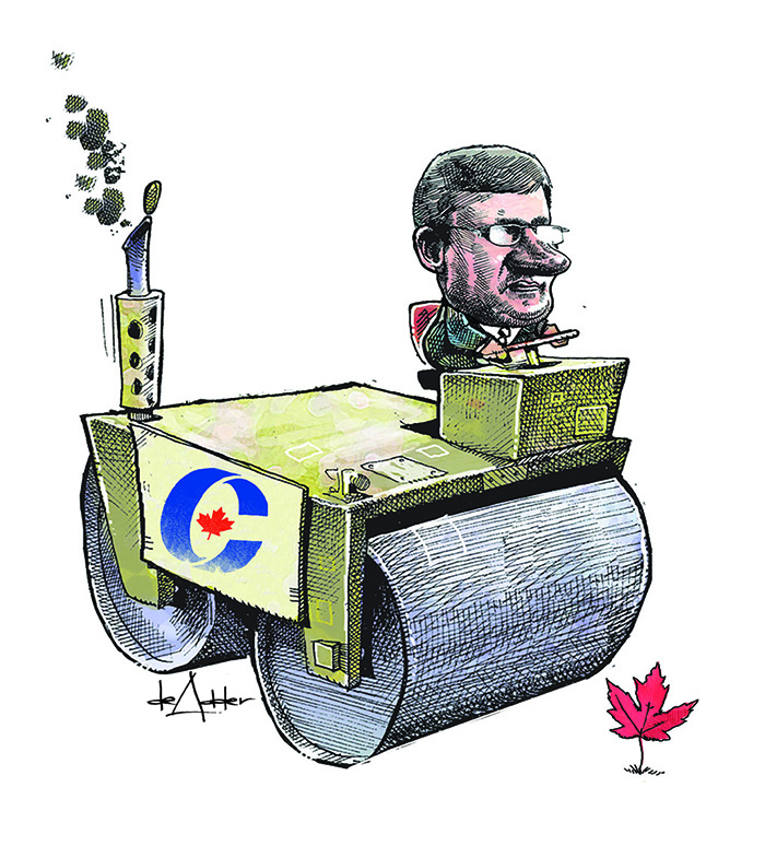 Comic of Stephen Harper riding on a steamroller about to run over maple leaf