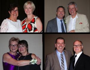 four images of etfo president sam hammond posing with award winners