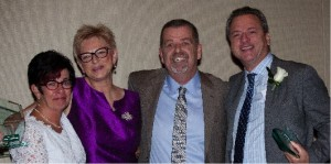 etfo president sam hammond posing with award winners